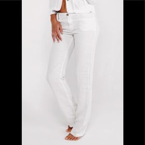 Gap white linen slacks